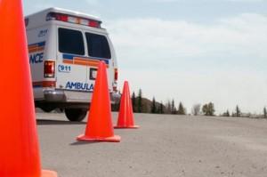 Traffic cones and ambulance